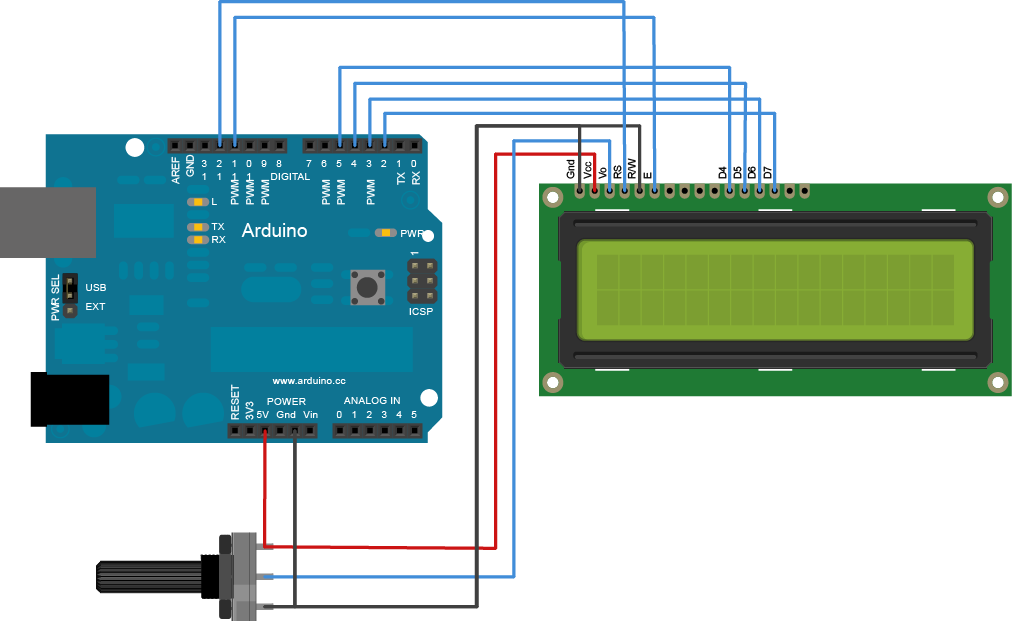Lcd display arduino controlling